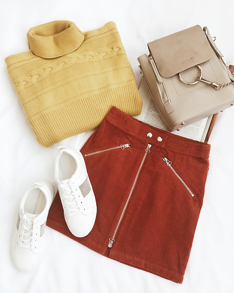 corduroy skirt and turtleneck sweater for pumpkin picking