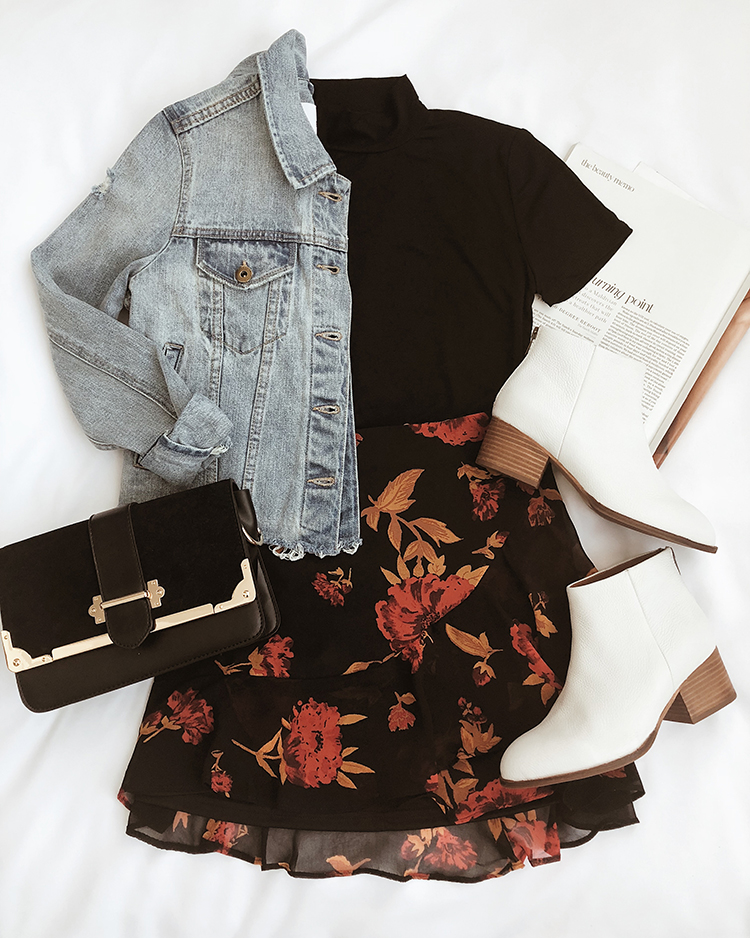 pumpkin picking outfit with fall florals