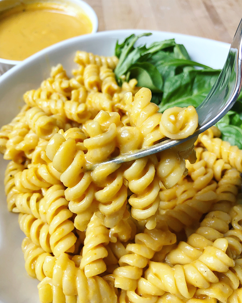 finished cheesy pasta recipe with pumpkin nutritional yeast recipe