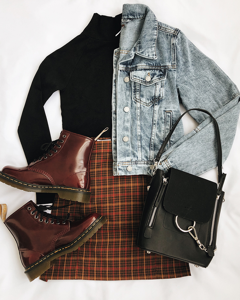grunge outfit with combat boots