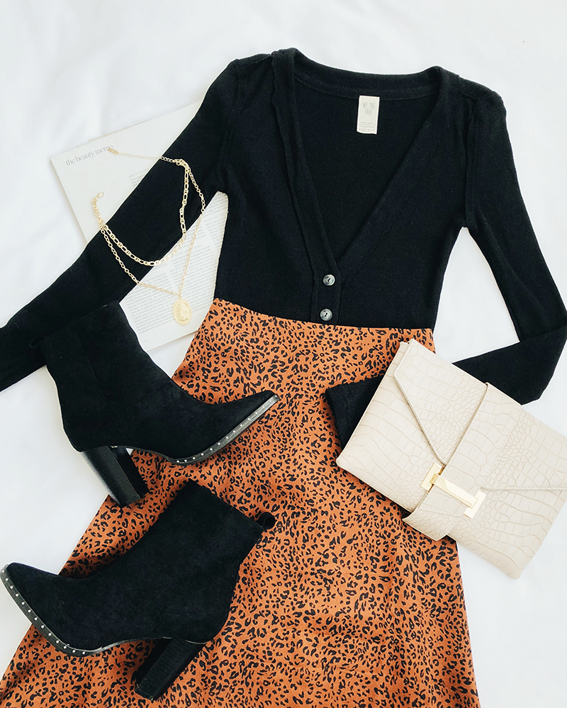 leopard midi skirt and sweater outfit
