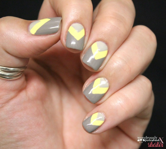 Mani Monday Taupe And Yellow Chevron Nail Tutorial