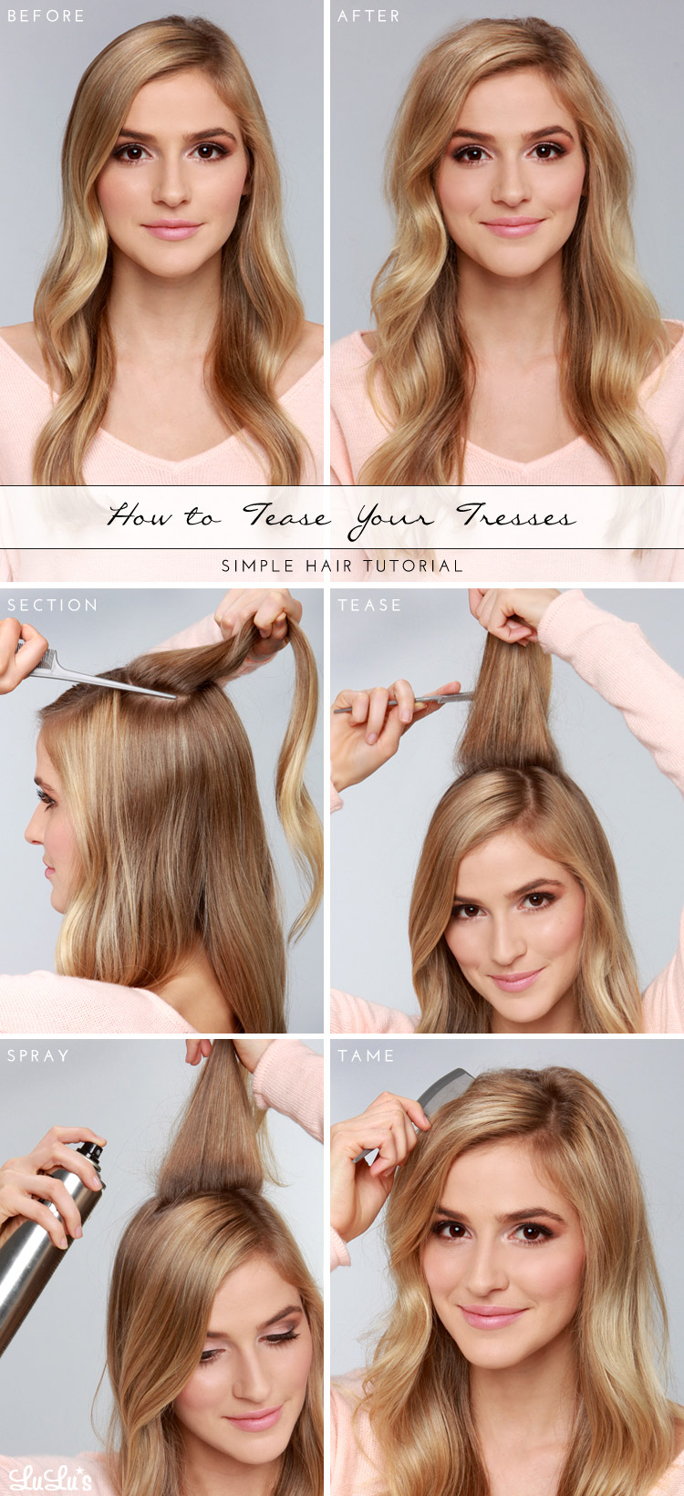 Lulus How-To: Tease Your Tresses Hair Tutorial