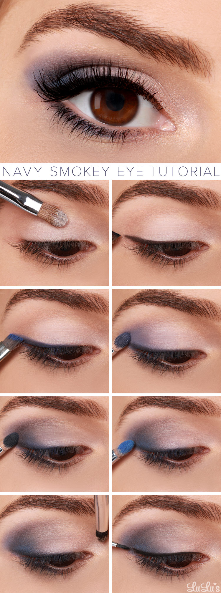 Smokey Eyeshadow Tutorial: Lulus How-To: Navy Smokey Eye Makeup Tutorial
