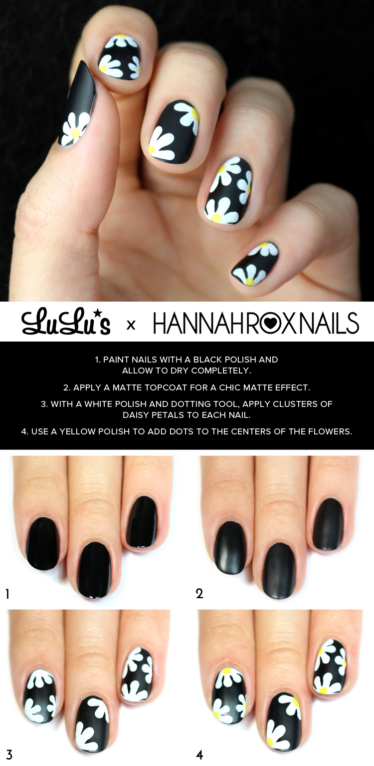Mani Monday Black Daisy Nail Tutorial Lulus Com Fashion Blog