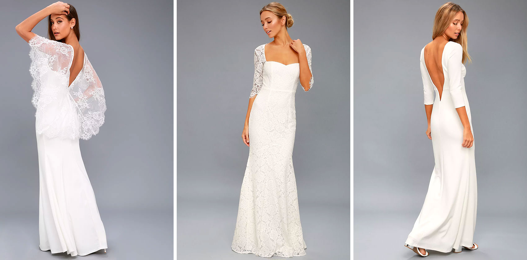 0260327f48f Our Everly White Lace Maxi Dress is also an amazing sleeveless bridal gown.  Featuring a classic silhouette in romantic lace and a plunging neckline  with ...